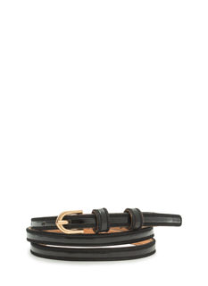 Faux Patent Leather Skinny Belt