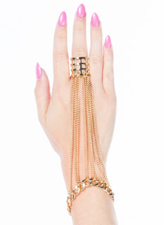 Lattice Ring Chained Hand Bracelet