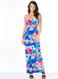 Floral Agreement Halter Maxi Dress