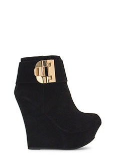 Buckle U Up Velvet Wedge Booties