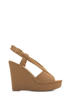 Crisscrossed Heart Faux Nubuck Wedges