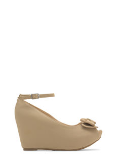 Added Bow-nus Faux Nubuck Wedges