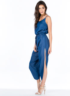 Time To Split Leg Chambray Jumpsuit