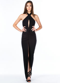 Cross My Heart Ruched Halter Maxi