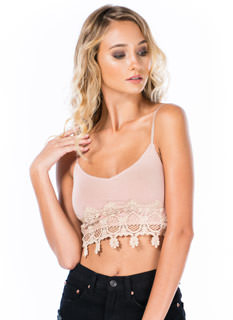 Filigreed Crochet Trim Cropped Tank
