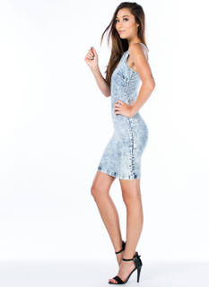 Acid Wash Denim Racer Bodycon Dress