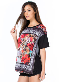 In The Mix Floral Animal Tee