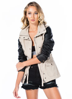 Mixed Media Faux Leather Cargo Jacket