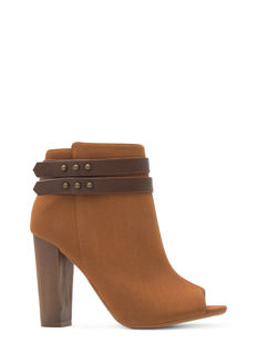 Double Wrap Strappy Peep-Toe Booties