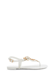 Glitzy Floral Charm Jelly Sandals