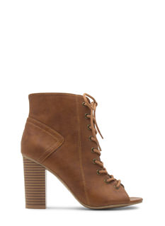 Free 2 Be Faux Leather Lace-Up Booties