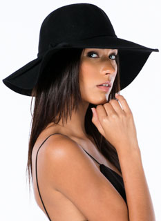 Tied Wool Wide Brim Hat