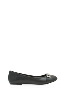 On Lock Faux Leather Ballet Flats