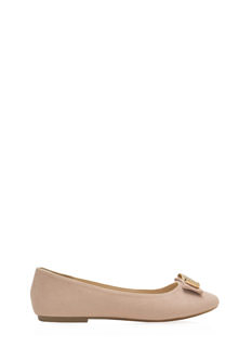 Bow-Jeweled Faux Suede Ballet Flats
