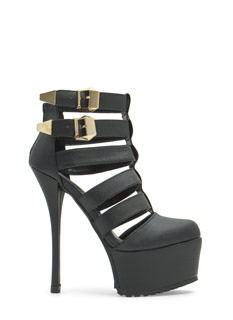 Double Buckle Laddered Platform Heels