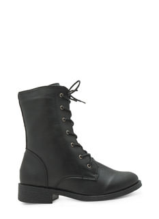 Get U Into Trouble Lace-Up Combat Boots