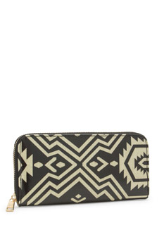Shiny Tribal Zippered Faux Leather Wallet