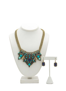 Inverted Crown Bejeweled Neckalce Set
