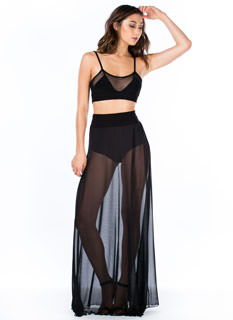 Sheer We Go Again Mesh Maxi Skirt