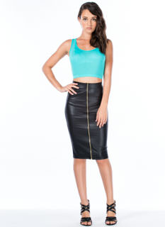 Crack The Zip Faux Leather Skirt