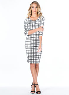 checkered bodycon with open back