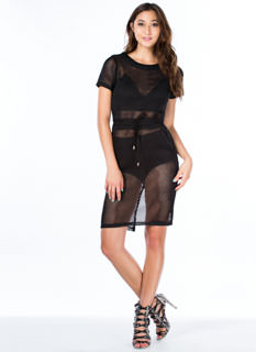 Sheer Honeycomb Net Dress