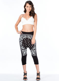 skull print drop crotch cropped pant