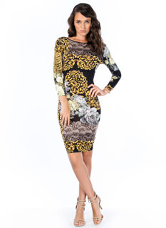 floral filigree print bodycon