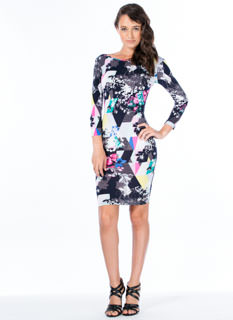 Floral Geo Bodycon Dress