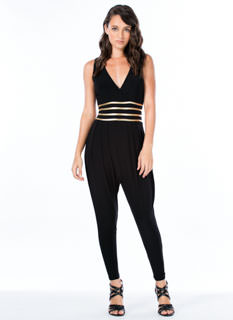 gold waist trim jumpsuit