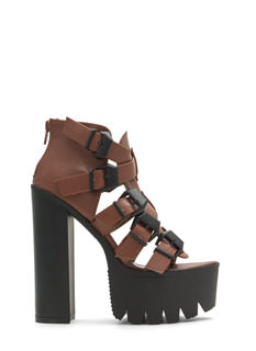 Rugged Buckled Platform Heels