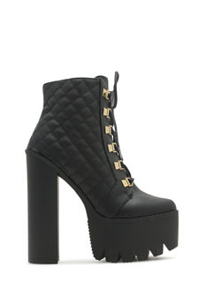 Stitched Quilted Platform Booties
