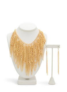 Tassel Fringe Draped Chain Necklace Set