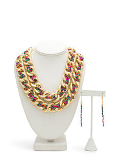 Beaded Layered Chunky Chain Necklace Set