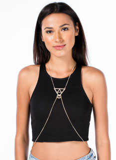 Metal Rhinestone Geo Body Chain