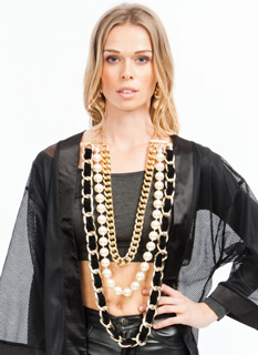 go over big pearl chain necklace set