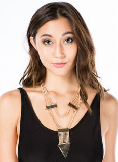 Triangulated Layered Chain Necklace