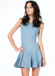 Pep-Lum In Ur Step Chambray Dress