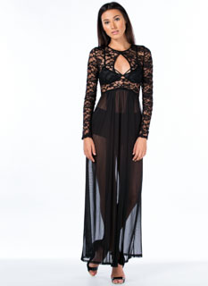 So Transparent Lace And Mesh Slit Maxi