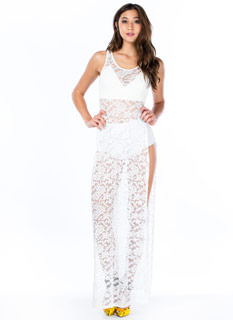 Extra Mile Slit Lace Maxi Dress