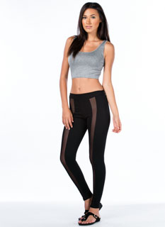 Mesh Strip Inset Leggings
