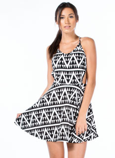 Geometric Zigzag Crossed Skater Dress