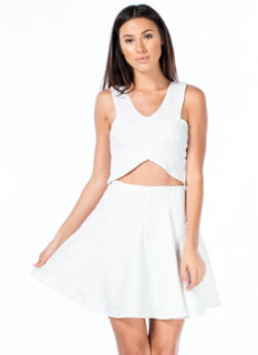 Sheen-Stealer Embossed Skater Skirt