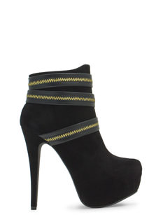 Zippy Velvet Platform Booties