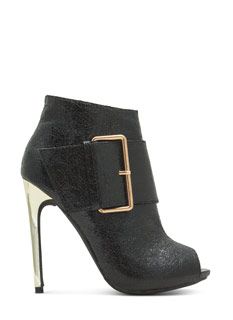 Oversized Buckle Peep-Toe Booties