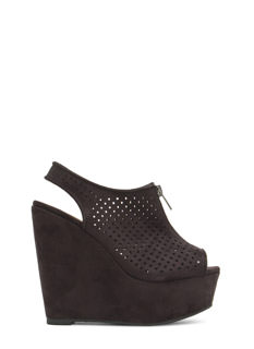Lattice Rejoice Zip Front Bootie Wedges