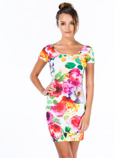 Digital Peony Print Bodycon Dress