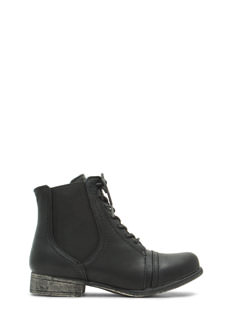 Slip To It Elasticized Lace-Up  Booties