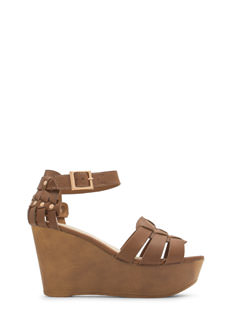 Tri-Strap Caged Platform Wedges