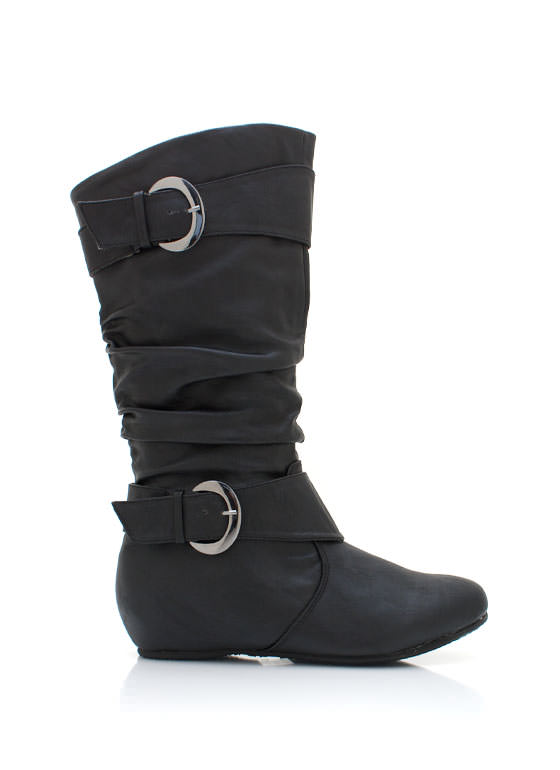Slouchy Leatherette Hidden Wedge Boot BLACK